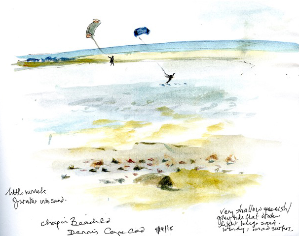 Sketch by Frances Topping from Chapin Beach on Cape Cod