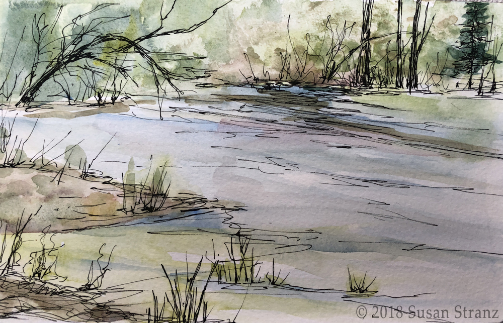 Watercolor study by Susan Stranz from Long Pasture