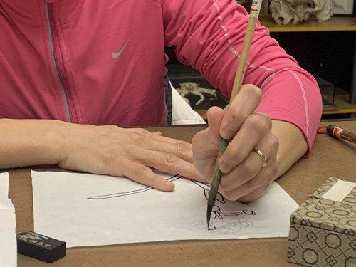 Mei Leung Chinese ink brush handling skills
