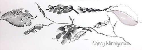 Testing Chinese Ink Brush Technique for Botanical Sunday by Nancy Minnigerode