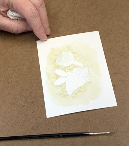 Carol Schwartz starting gouache painting using frisket
