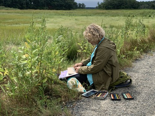 Peggy Rambach Field Sketching at Rough Meadows