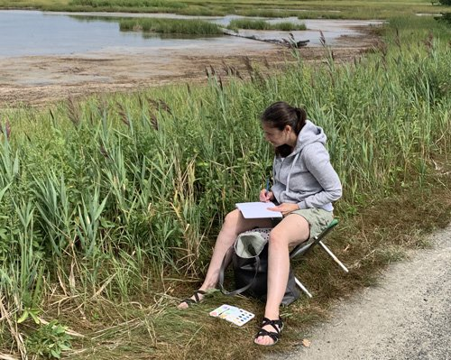 Tricia Cassady Field Sketching at Rough Meadows